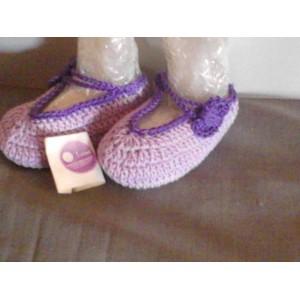 Scarpine neonata ad uncinetto in cotone